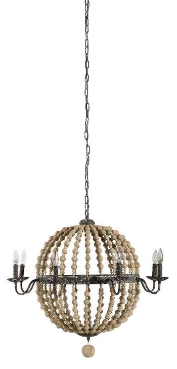 Cosmos Chandelier In Natural Wood Beads