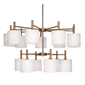 Ellis Two Tier Chandelier In Antique Brass With White Linen Shades
