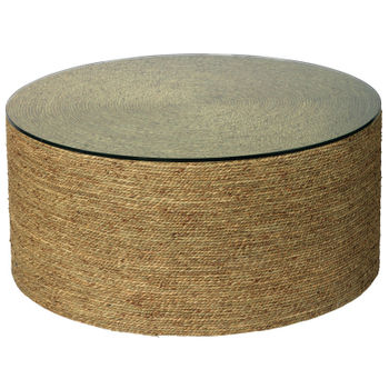 Harbor Coffee Table In Natural Seagrass With Tempered Glass Top
