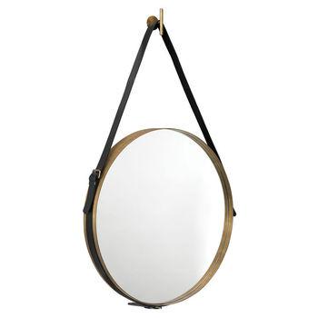 Large Round Mirror In Antique Brass & Black Leather Strap