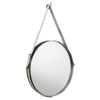 Large Round Mirror In Antique Silver & Grey Hide Strap