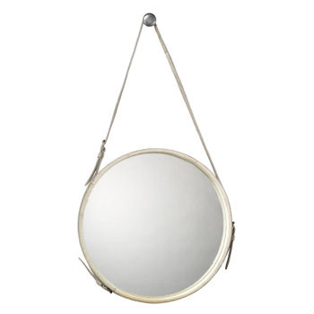 Large Round Mirror In White Hide