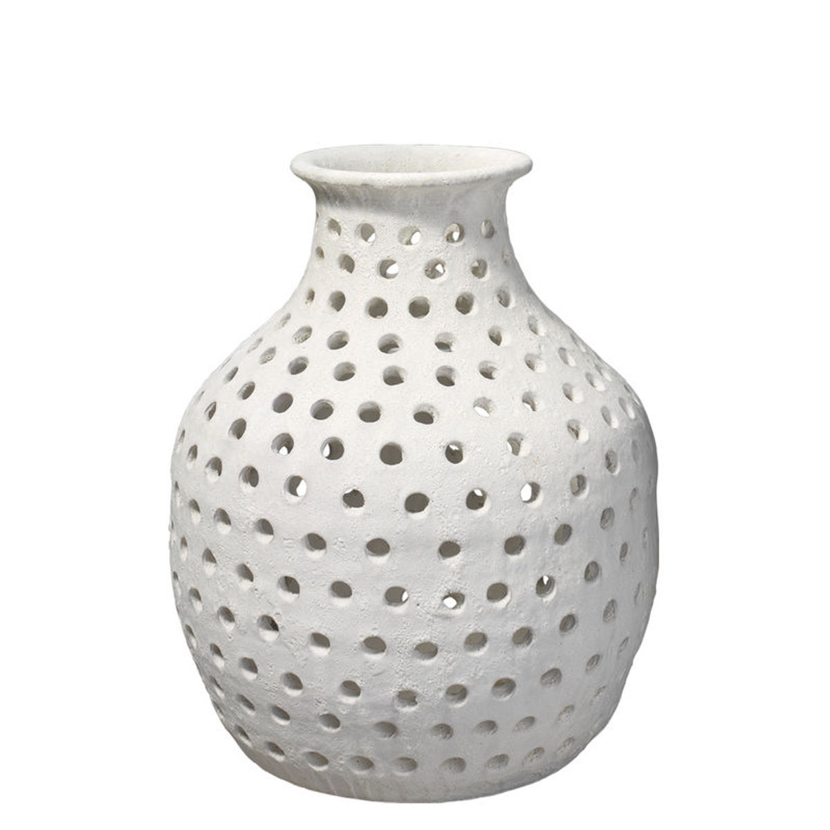 Small Porous Vase In Matte White Ceramic
