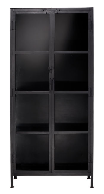 Union Tall Curio Cabinet In Black Iron & Clear Glass *Must Ship Common Carrier.