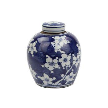Blue And White Tiny Lid Mini Jar Blue Plum Petal