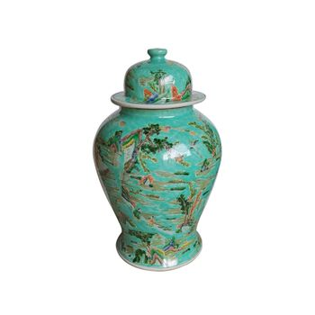 Chinoiserie Green Landscape Temple Jar