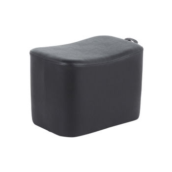 May Ottoman, Black Faux Leather