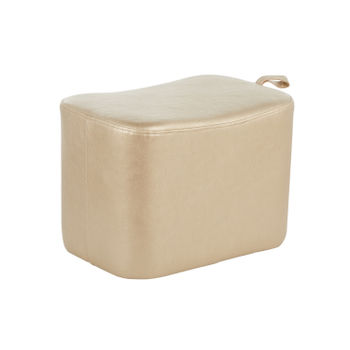 May Ottoman, Gold Faux Leather