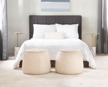 Round Ottoman, Beige Faux Leather