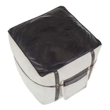 Samson Pouf, Grey Canvas And Black Leather