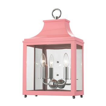 """2 Light Wall Sconce, Polished Nickel And Pink/Clear, 18.75"""""""