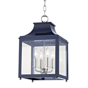 """4 Light Small Pendant, Polished Nickel And Navy/Clear, 18.75"""""""
