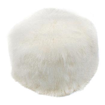 Lamb Fur Pouf Natural