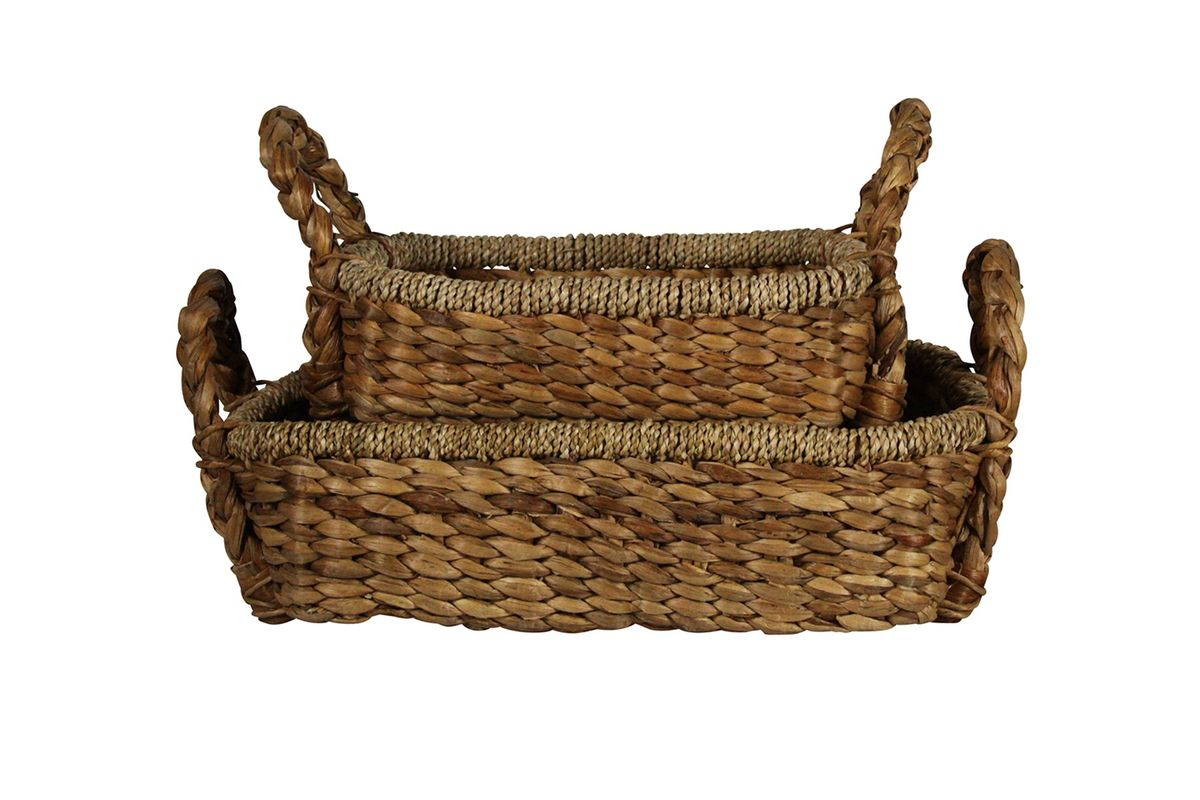 Braided Water Hyacinth Tray, Rect - Set Of 2