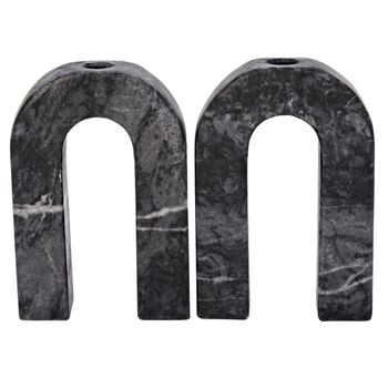 Corinth Decorative Candle Holder, Small, Set Of 2, Black Marble
