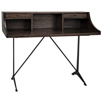 Croft Desk With Metal, Ebony Walnut