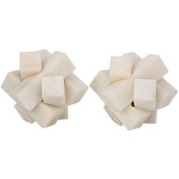 Cube Puzzle Object, Set Of 2, White Stone
