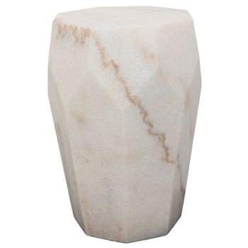 Monolith Side Table, White Stone
