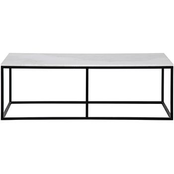 Qs Lois Coffee Table, White Stone And Black Metal