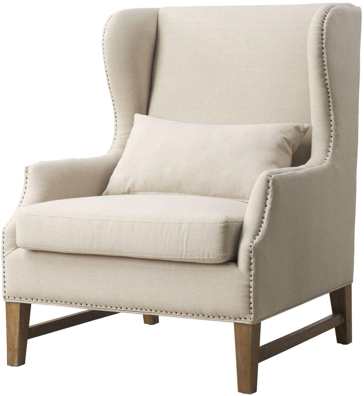 Devon Beige Linen Wing Chair