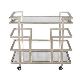 Ireland S, Silver Lf Linear Bar, Cart, W Mirror, Shelves