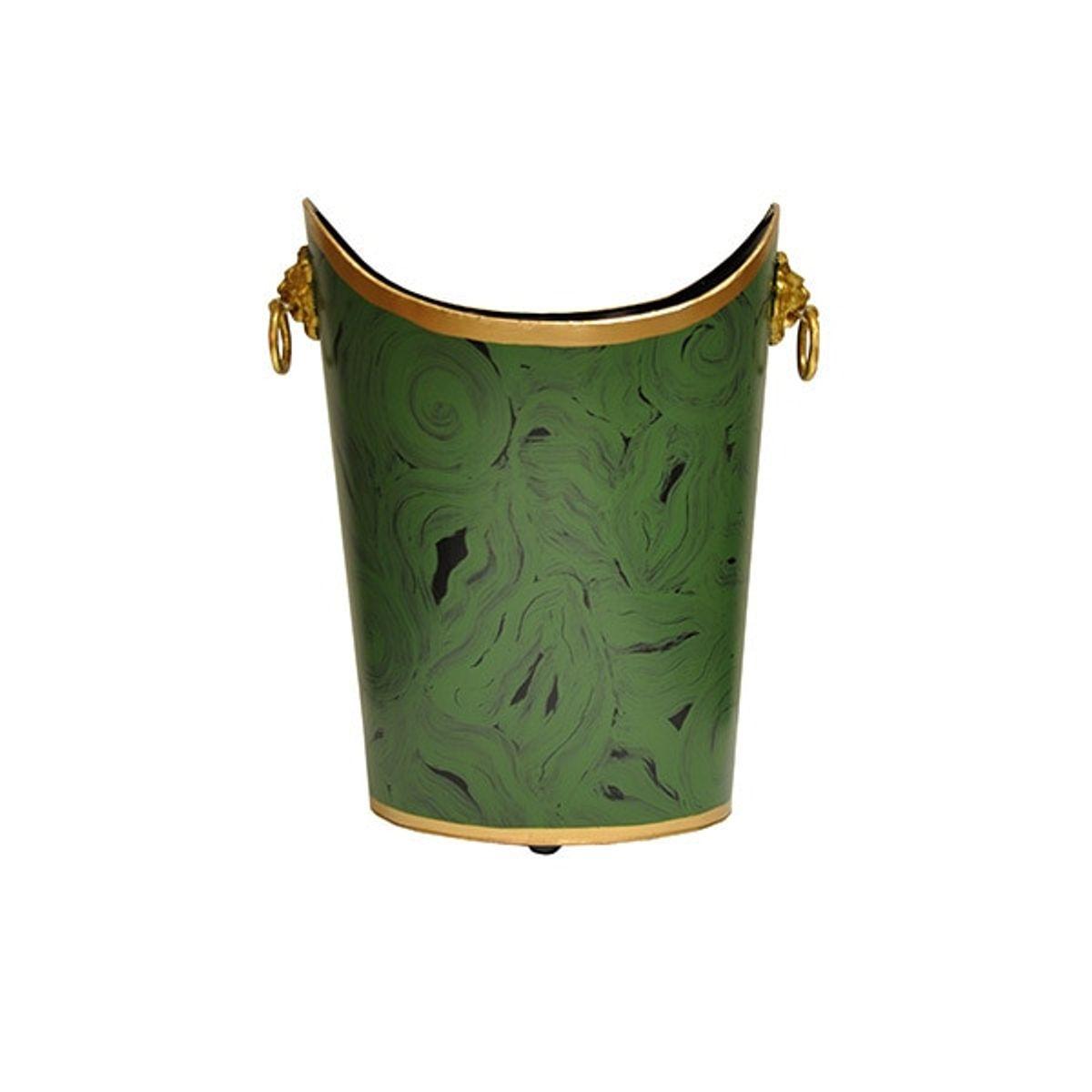 Wblionov Mal, Oval Wastebasket With Lion Handles In Malachite